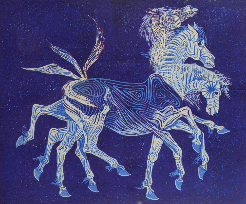 Blue Horse in Motion