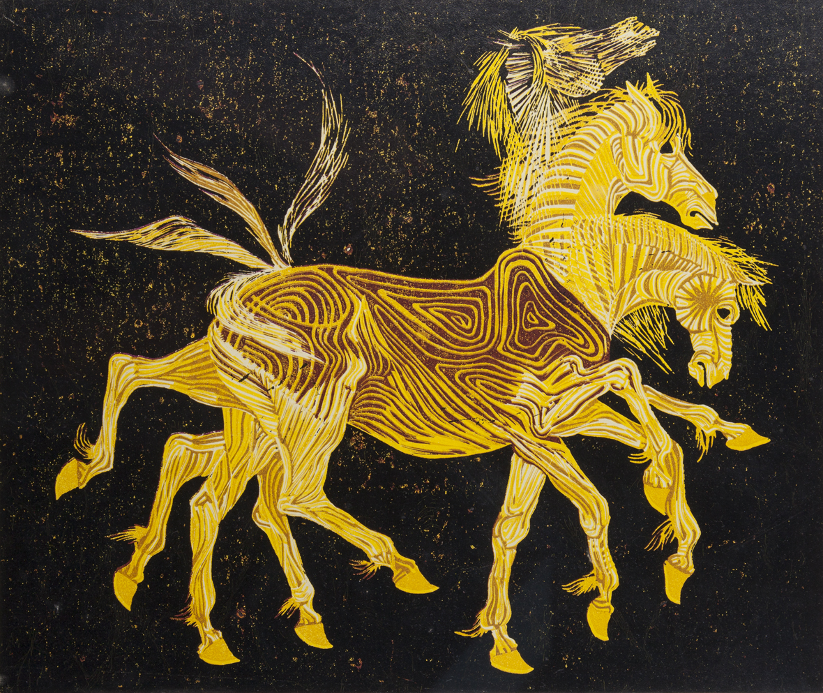 Yellow Horse in Motion