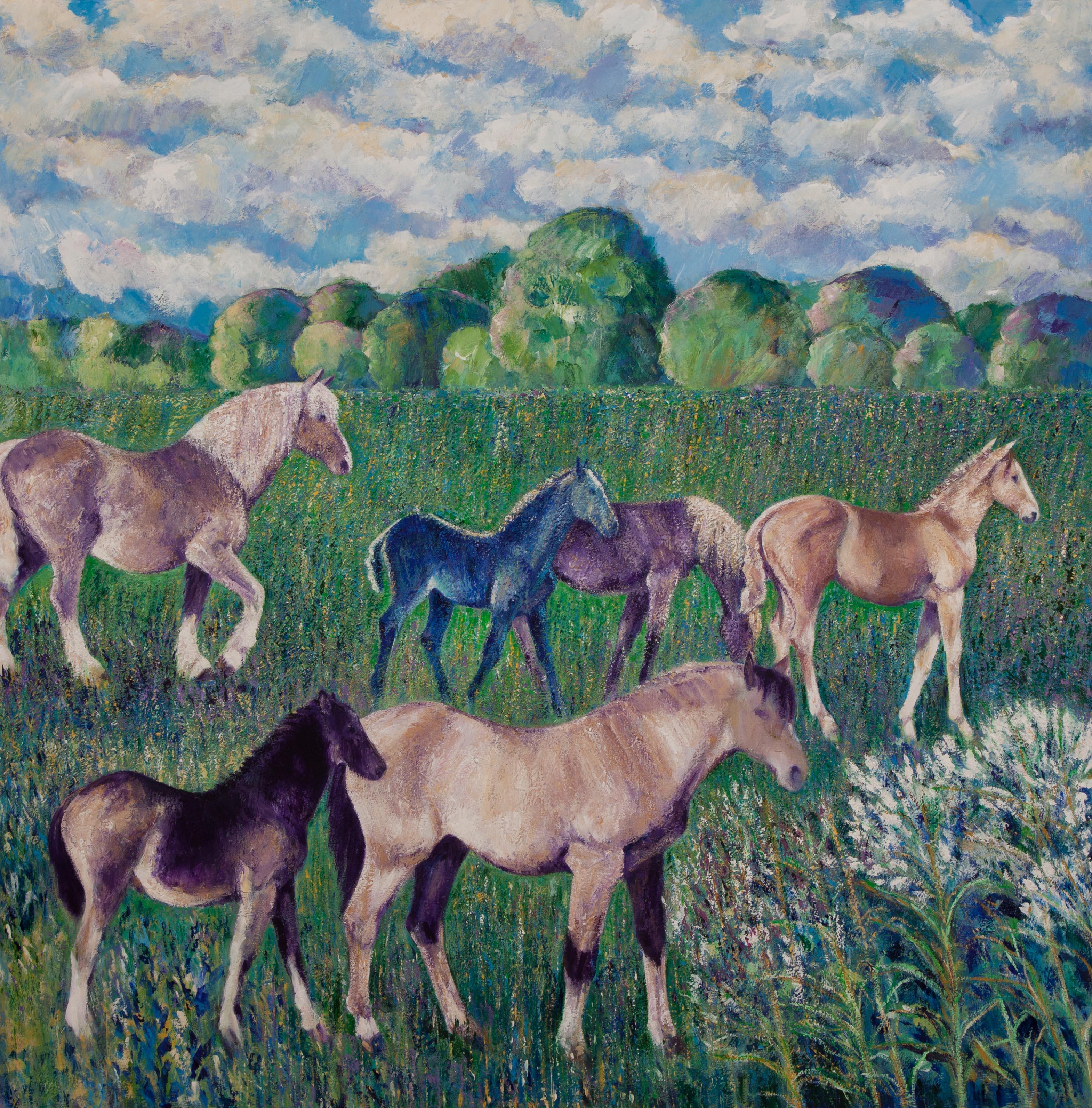 Mares and Foals in a Meadow
