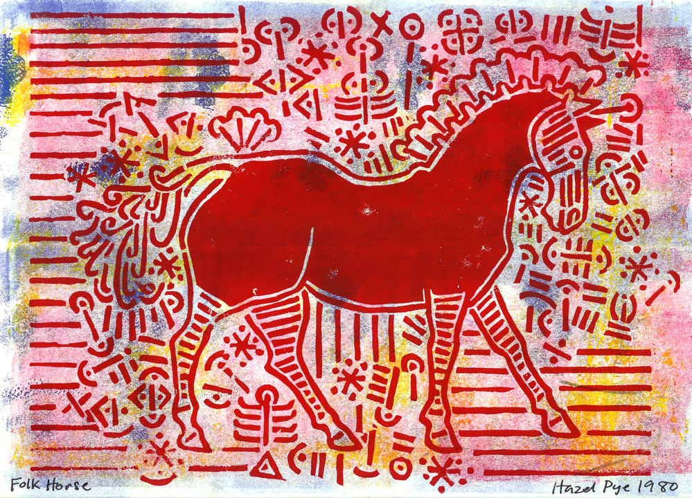 Folk Horse. Red and Blue