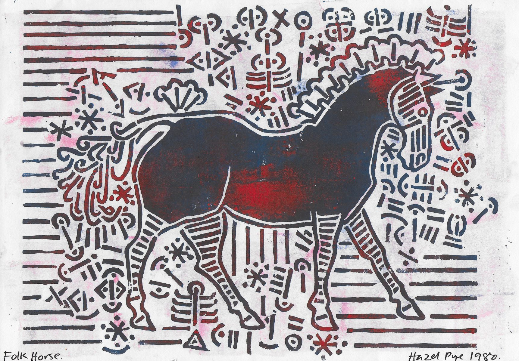 Folk Horse. Blue and Red