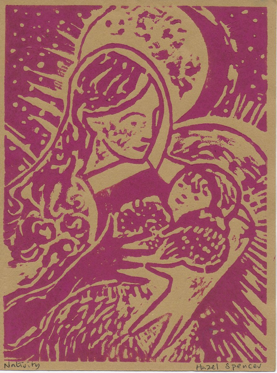 Nativity. Magenta on Ochre